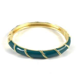 Beautiful Vintage Gold & Green Enamel Cuff Bangle